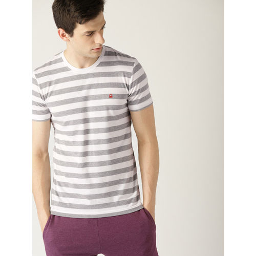 United Colors of Benetton White & Grey Melange Striped Round Neck T-shirt