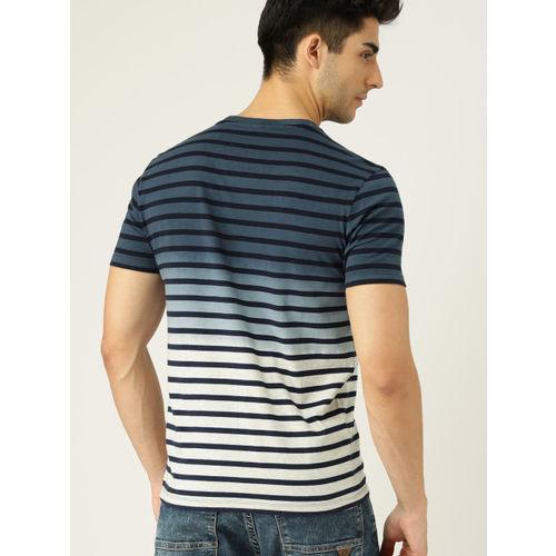 United Colors of Benetton Men Navy Blue & Grey Melange Dyed Round Neck T-shirt