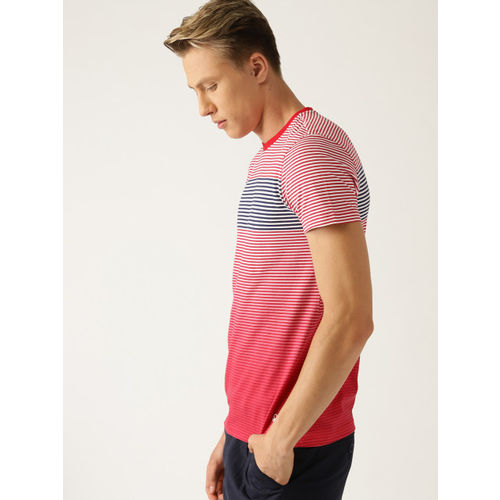 United Colors of Benetton Men Red & White Striped Round Neck T-shirt