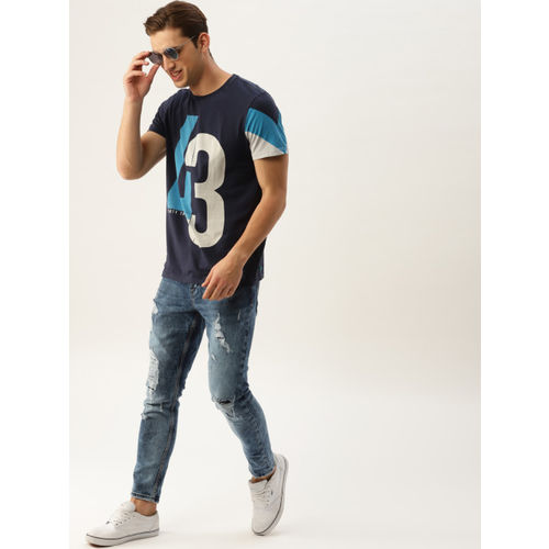 United Colors of Benetton Men Navy Blue Printed T-shirt