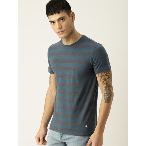 United Colors of Benetton Men Blue & Grey Striped Round Neck T-shirt