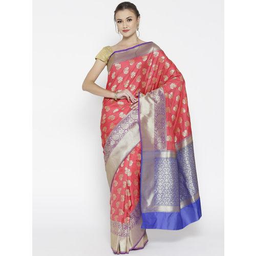 Banarasi Style Orange Silk Blend Woven Design Banarasi Saree