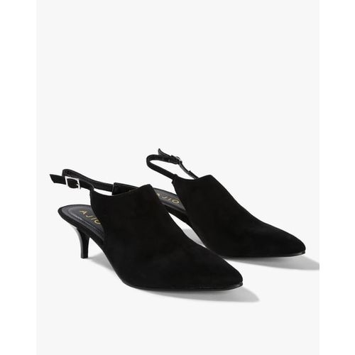 AJIO Pointed-Toe Kitten Heels with Slingback