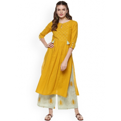 Idalia Mustard Yellow Cotton Solid Kurta with Printed Palazzos
