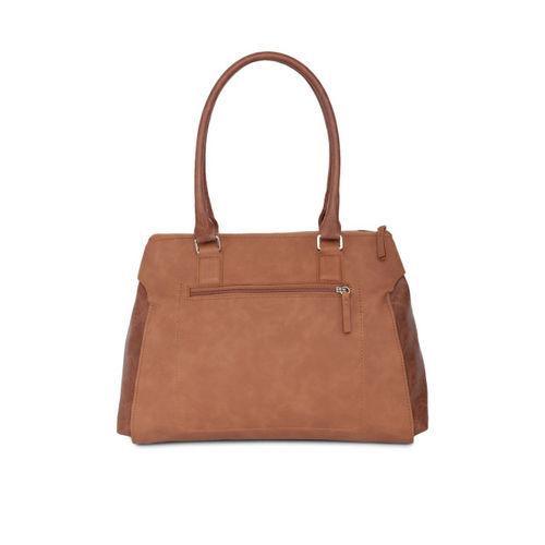 Baggit Brown Polyurethane Solid Handbag