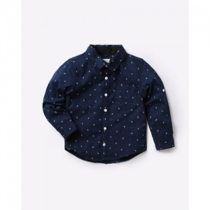 AJIO Micro Print Shirt with Patch Pocket