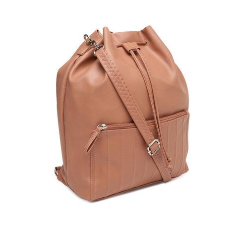 Baggit Peach-Coloured Solid Sling Bag cum Backpack
