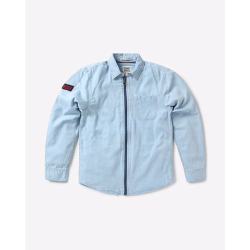 YB DNMX Front-Zip Shirt with Patch Pocket