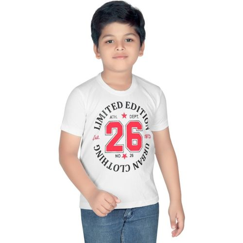Clothify Boys Printed Cotton T Shirt(White, Pack of 1)