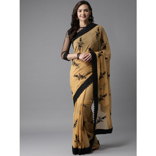 MANOHARI Beige & Black Embroidered Saree