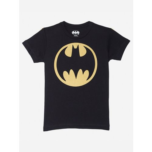 Batman By Kidsville Boys Graphic Print Cotton Blend T Shirt(Black, Pack of 1)
