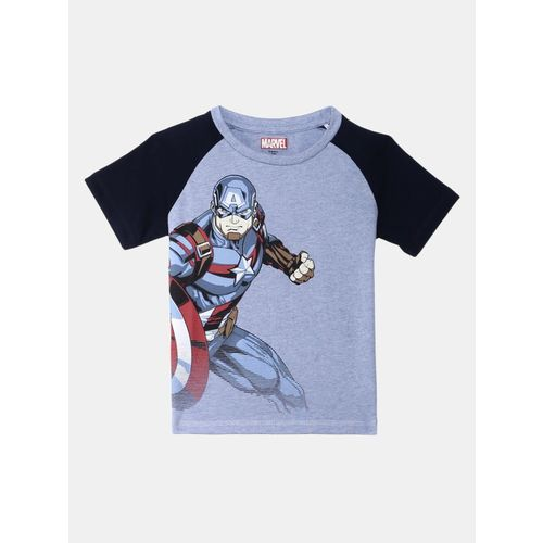 Captain America By Kidsville Boy's Graphic Print Cotton T Shirt(Blue, Pack of 1)