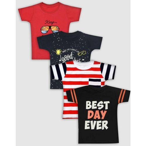 Babeezworld Boy's Printed Cotton T Shirt(Multicolor, Pack of 4)