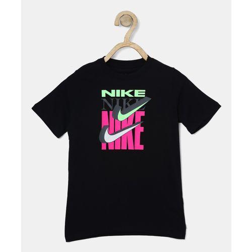 Nike Boy's Printed Cotton T Shirt(Black, Pack of 1)