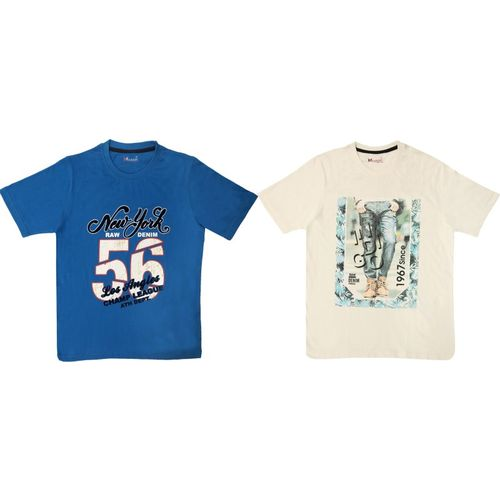Hypknot Boy's Printed Cotton T Shirt(Multicolor, Pack of 2)
