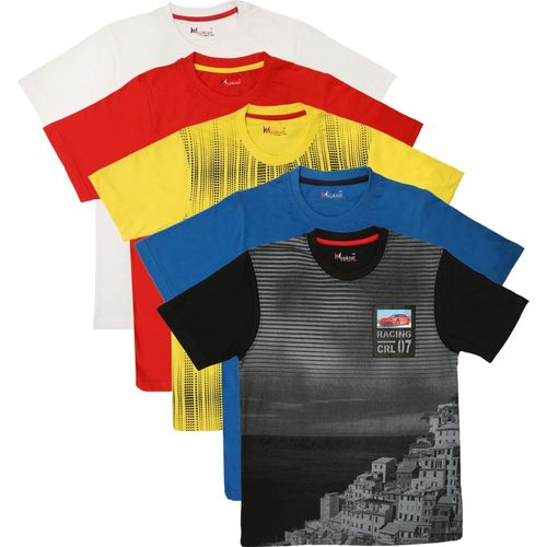 Hypknot Boys Graphic Print Cotton T Shirt(Multicolor, Pack of 5)