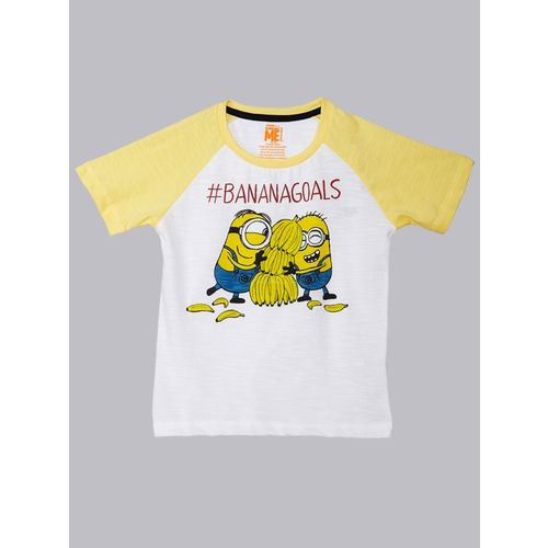 Minions By Kidsville Boys Graphic Print Cotton Blend T Shirt(White, Pack of 1)