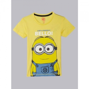 6e162cae Minions By Kidsville Boys Graphic Print Cotton Blend T Shirt(Yellow, Pack  of 1