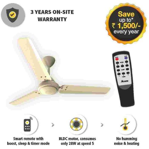 Gorilla Efficio Energy Saving 5 Star Rated with Remote Control and BLDC Motor 3 Blade Ceiling Fan(Ivory, Pack of 1)