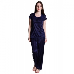 Senslife Blue Solid Nightwear Lace Designed Neck Night Suit Pajama Set