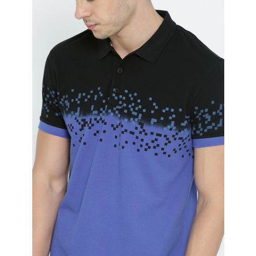 United Colors of Benetton Men Blue & Black Printed Polo T-shirt