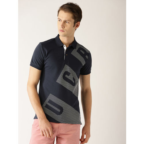 United Colors of Benetton Men Navy Blue Printed Polo Collar T-shirt