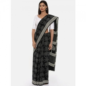 gocoop Black & Grey Pure Cotton Printed Saree
