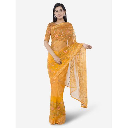 45a3528bb7 Vipul Yellow Embroidered Organza Saree; Vipul Yellow Embroidered Organza  Saree ...