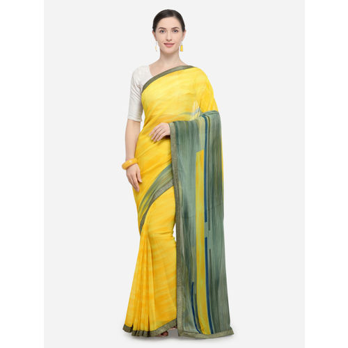360d507c726 Buy Triveni Yellow   Green Poly Georgette Printed Saree online ...