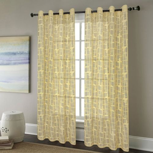 Deco Window 225 cm (7 ft) Polyester Door Curtain (Pack Of 2)(Geometric, Mineral Yellow)