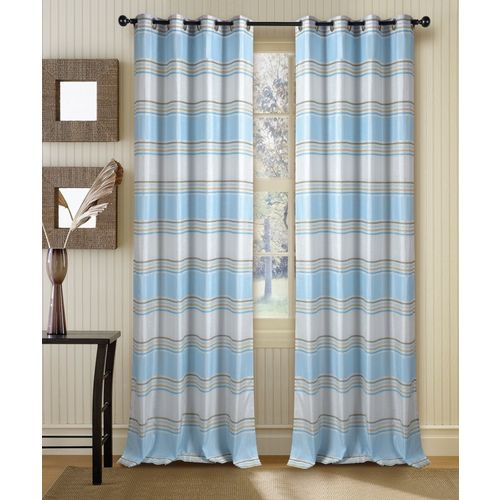 Deco Window 228 cm (7 ft) Polyester Door Curtain (Pack Of 4)(Plain, Ivory/Light Blue)