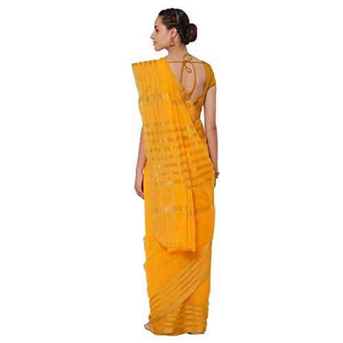 Kvsfab Yellow Woven Design Silk Cotton Saree