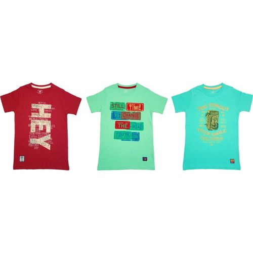 Yorker Boy's Printed Cotton T Shirt(Multicolor, Pack of 3)