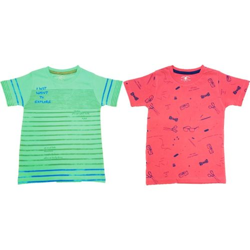 Yorker Boy's Printed Cotton T Shirt(Multicolor, Pack of 2)