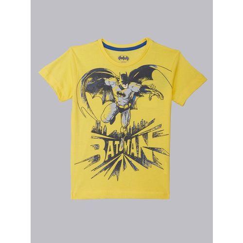 Batman By Kidsville Boys Graphic Print Cotton Blend T Shirt(Yellow, Pack of 1)
