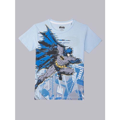 Batman By Kidsville Boys Graphic Print Cotton Blend T Shirt(Blue, Pack of 1)