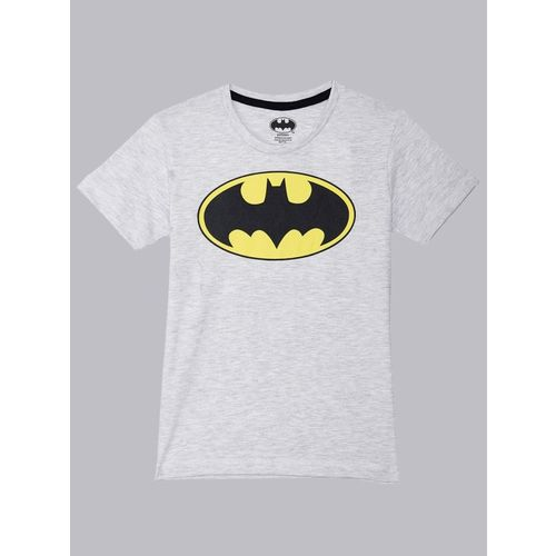 Batman By Kidsville Boys Graphic Print Cotton Blend T Shirt(Grey, Pack of 1)