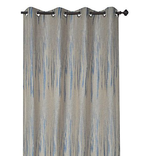Deco Window Polyester Blend Eyelet Door Curtain (Grey Blue, 52x90-inch) - Set of 2
