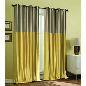 Deco Window Blackout Modern Wrap Polyester Eyelet Window Curtain Set of 2-5 Ft, Mimosa