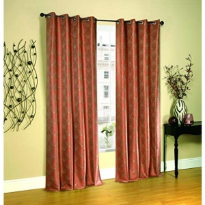 Deco Window Abstract Polyester Eyelet Window Curtain Set of 2-5 Ft, Grenadine