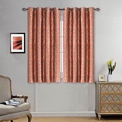 Deco Window Floral Leaf Grenadine (Set of 2) Window Curtain