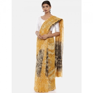 gocoop Yellow Silk Cotton Printed Chanderi Saree