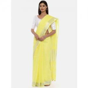 gocoop Yellow Solid Jute Cotton Saree
