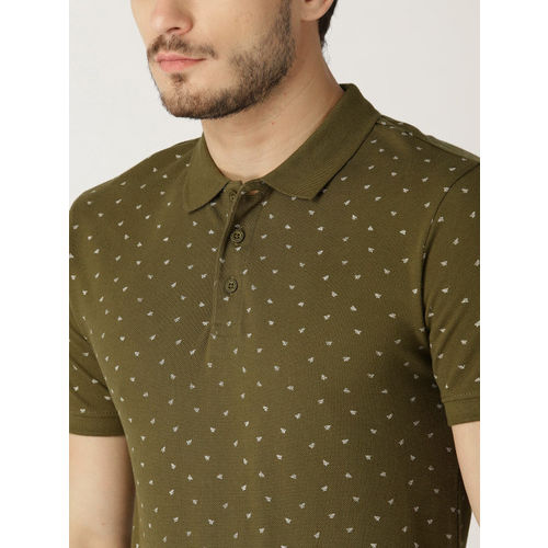 United Colors of Benetton Men Olive Green Printed Polo Collar T-shirt
