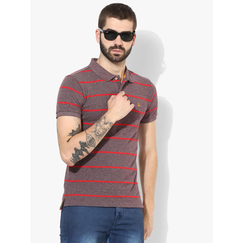 United Colors of Benetton Mauve Striped Regular Fit Polo T-Shirt