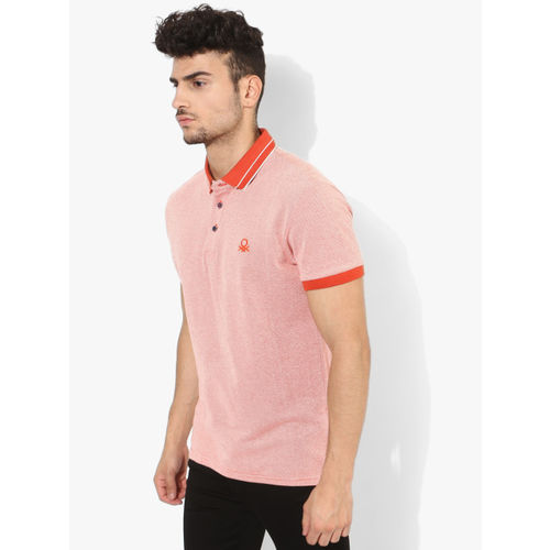 United Colors of Benetton Orange Self Design Regular Fit Polo T-Shirt