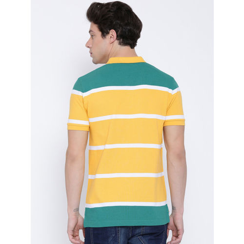 United Colors of Benetton Men Yellow Striped Polo Collar T-shirt