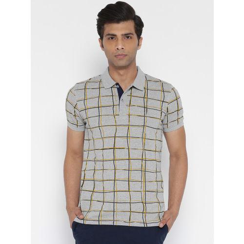 United Colors of Benetton Men Grey Melange Checked Polo Collar T-shirt