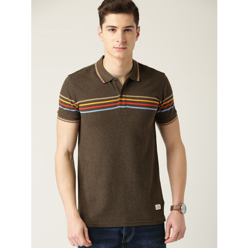United Colors of Benetton Men Brown Solid Polo Collar T-shirt with Striped Detail