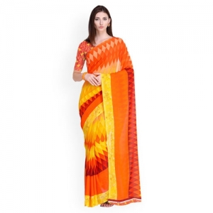 Blissta Yellow & Orange Printed Daily Wear Poly Georgette Saree